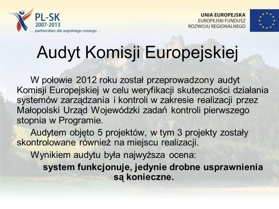 Audyt Komisji Europejskiej W połowie 2012 roku został przeprowadzony audyt Komisji Europejskiej w celu weryfikacji skuteczności działania systemów zarządzania i kontroli w zakresie realizacji przez Małopolski Urząd Wojewódzki zadań kontroli pierwszego stopnia w Programie.