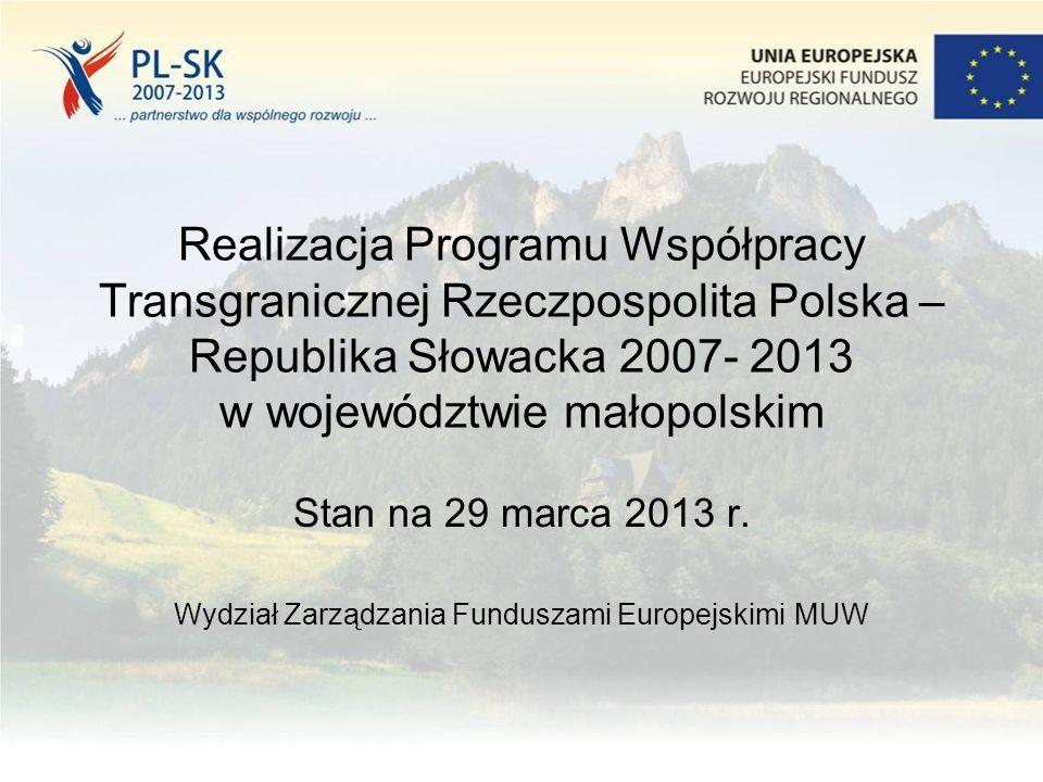 Realizacja Programu Współpracy Transgranicznej Rzeczpospolita Polska – Republika Słowacka 2007- 2013 w województwie małopolskim Stan na 29 marca 2013 r.