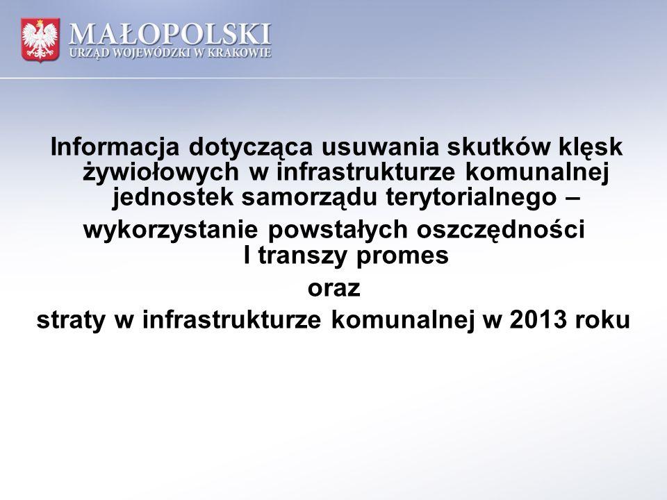 Informacja dotycząca usuwania skutków klęsk żywiołowych w infrastrukturze komunalnej jednostek samorządu terytorialnego – wykorzystanie powstałych oszczędności I transzy promes oraz straty w infrastrukturze komunalnej w 2013 roku