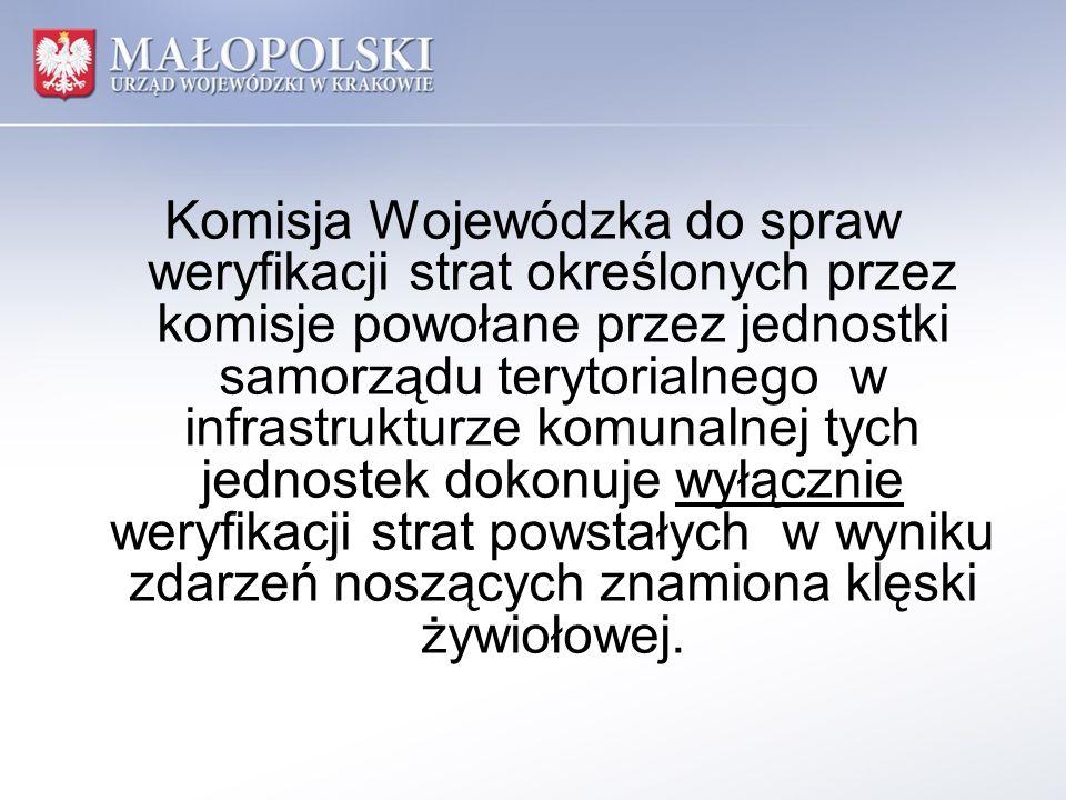 Komisja Wojewódzka do spraw weryfikacji strat określonych przez komisje powołane przez jednostki samorządu terytorialnego w infrastrukturze komunalnej