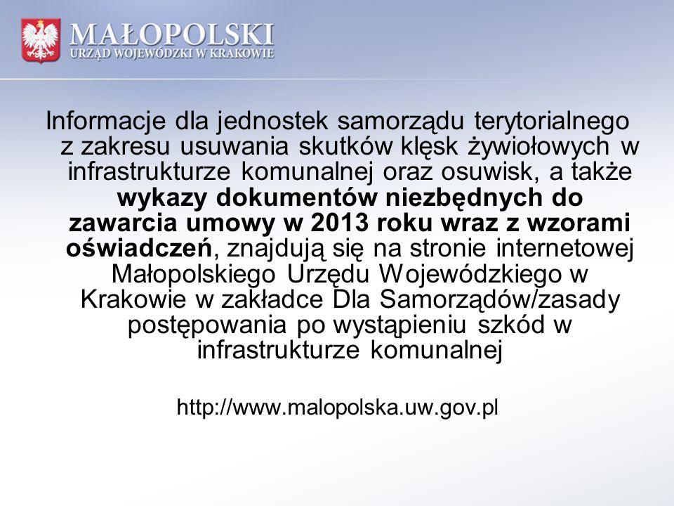 Informacje dla jednostek samorządu terytorialnego z zakresu usuwania skutków klęsk żywiołowych w infrastrukturze komunalnej oraz osuwisk, a także wyka