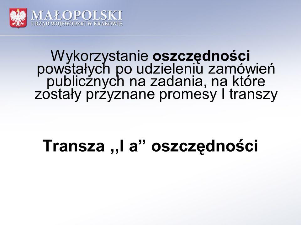 Wykorzystanie oszczędności powstałych po udzieleniu zamówień publicznych na zadania, na które zostały przyznane promesy I transzy Transza,,I a oszczęd