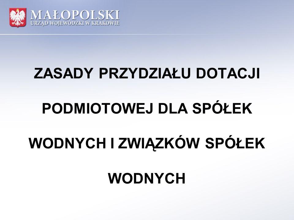 Zestawienie stanu ilościowego urządzeń melioracji wodnych szczegółowych w województwie małopolskim w 2012 roku Ogółem stan ewidencyjny w tym objętych utrzymaniem w tym zadania wykonane z udziałem środków z budżetu Wojewody Małopolskiego Powierzchnia urządzeń drenarskich ogółem ha 203 343,00 (100%) 43 217,00 (21%) 25 791,49 (12,6%) Długość rowów melioracyjnych ogółem km 4 896,00 (100%) 1 101,90 (22%) 659,5 (13,5%) Koszty wykonanych practys zł.x 5 039 000,00 (100%) 2 642 589,89 (52,5%)