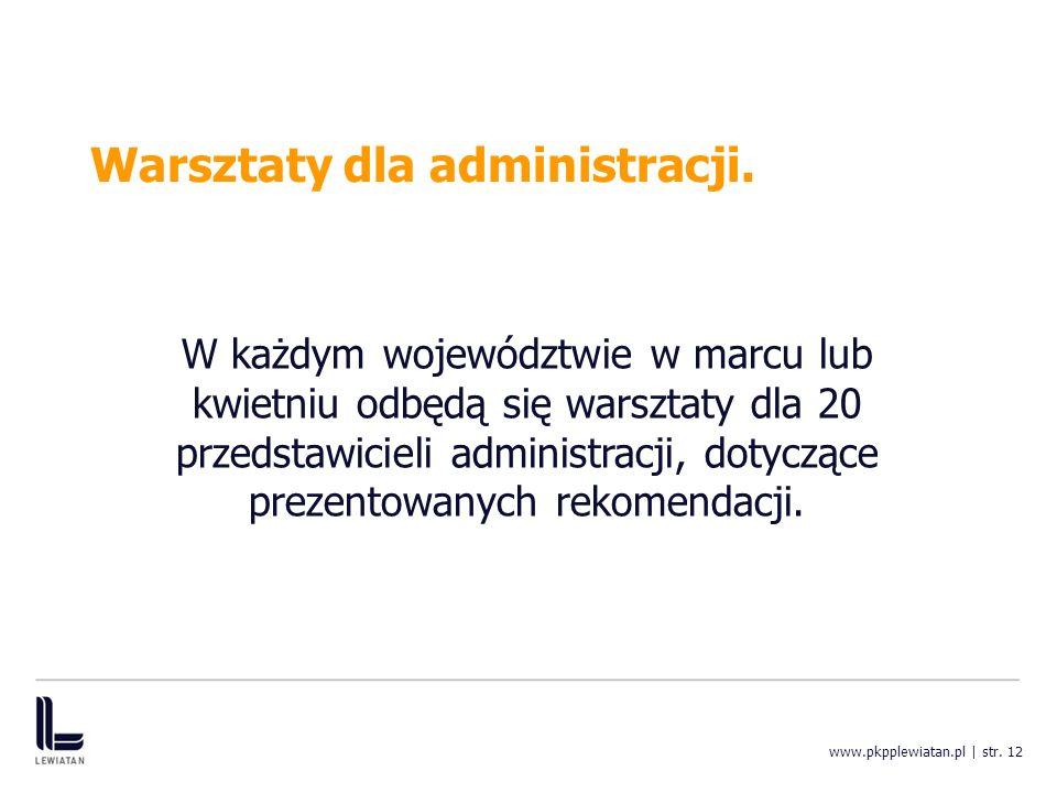Warsztaty dla administracji. W każdym województwie w marcu lub kwietniu odbędą się warsztaty dla 20 przedstawicieli administracji, dotyczące prezentow
