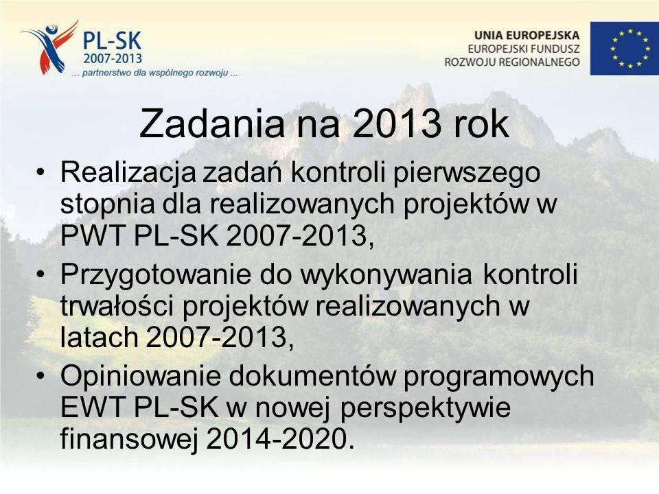 Zadania na 2013 rok Realizacja zadań kontroli pierwszego stopnia dla realizowanych projektów w PWT PL-SK 2007-2013, Przygotowanie do wykonywania kontroli trwałości projektów realizowanych w latach 2007-2013, Opiniowanie dokumentów programowych EWT PL-SK w nowej perspektywie finansowej 2014-2020.