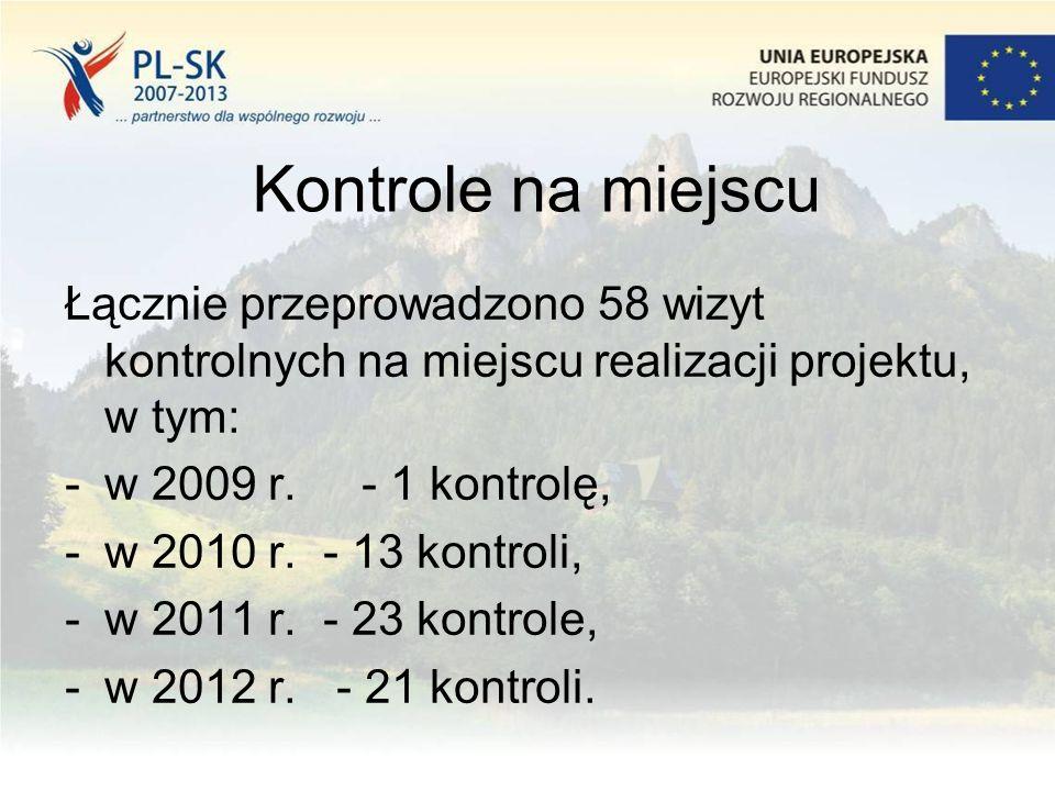 Kontrole na miejscu Łącznie przeprowadzono 58 wizyt kontrolnych na miejscu realizacji projektu, w tym: -w 2009 r. - 1 kontrolę, -w 2010 r. - 13 kontro