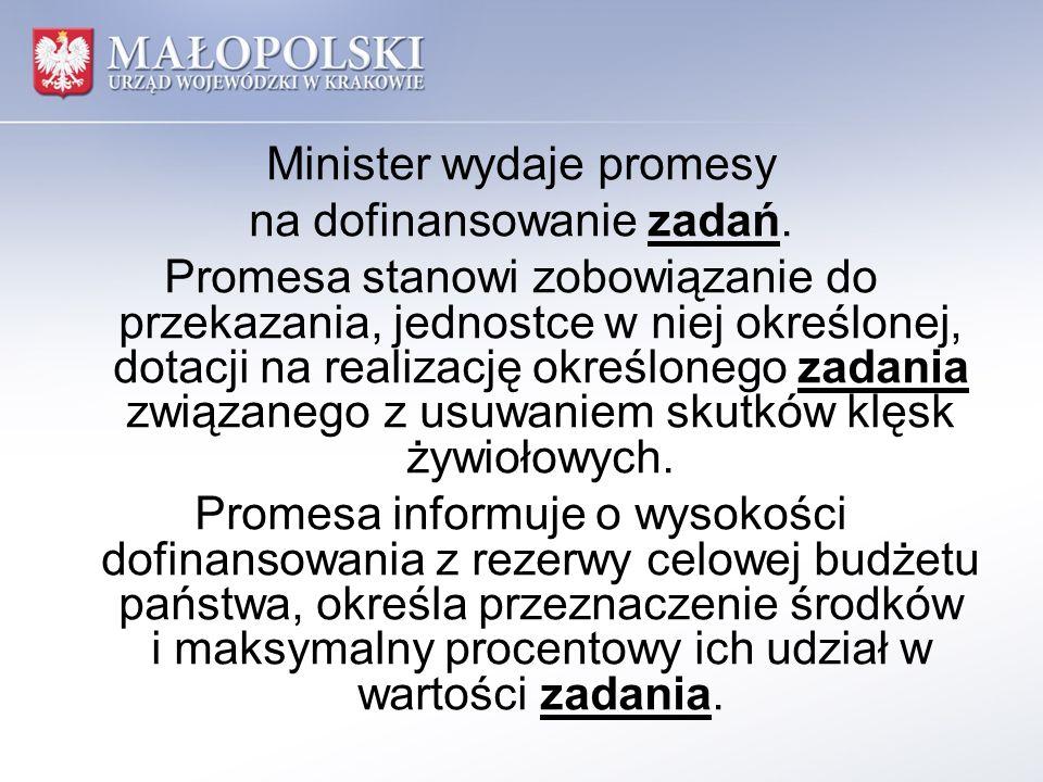 Minister wydaje promesy na dofinansowanie zadań.