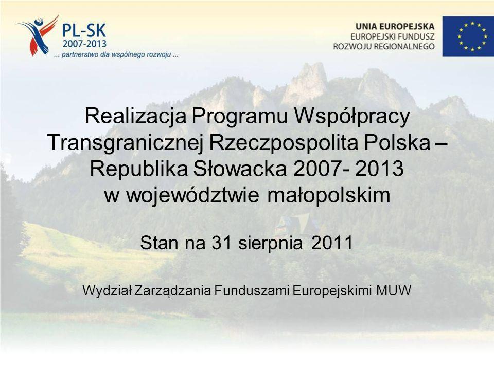 Realizacja Programu Współpracy Transgranicznej Rzeczpospolita Polska – Republika Słowacka 2007- 2013 w województwie małopolskim Stan na 31 sierpnia 2011 Wydział Zarządzania Funduszami Europejskimi MUW