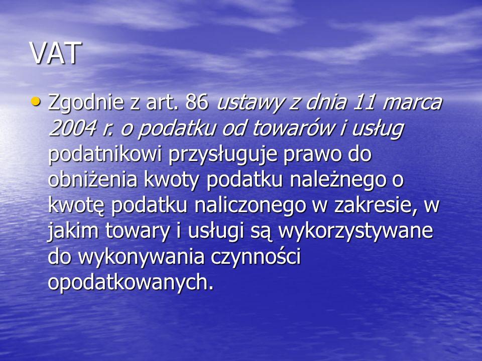 VAT Zgodnie z art. 86 ustawy z dnia 11 marca 2004 r.