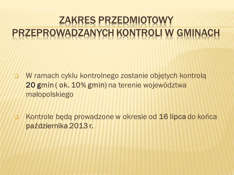 W ramach cyklu kontrolnego zostanie objętych kontrolą 20 gmin ( ok. 10% gmin) na terenie województwa małopolskiego Kontrole będą prowadzone w okresie