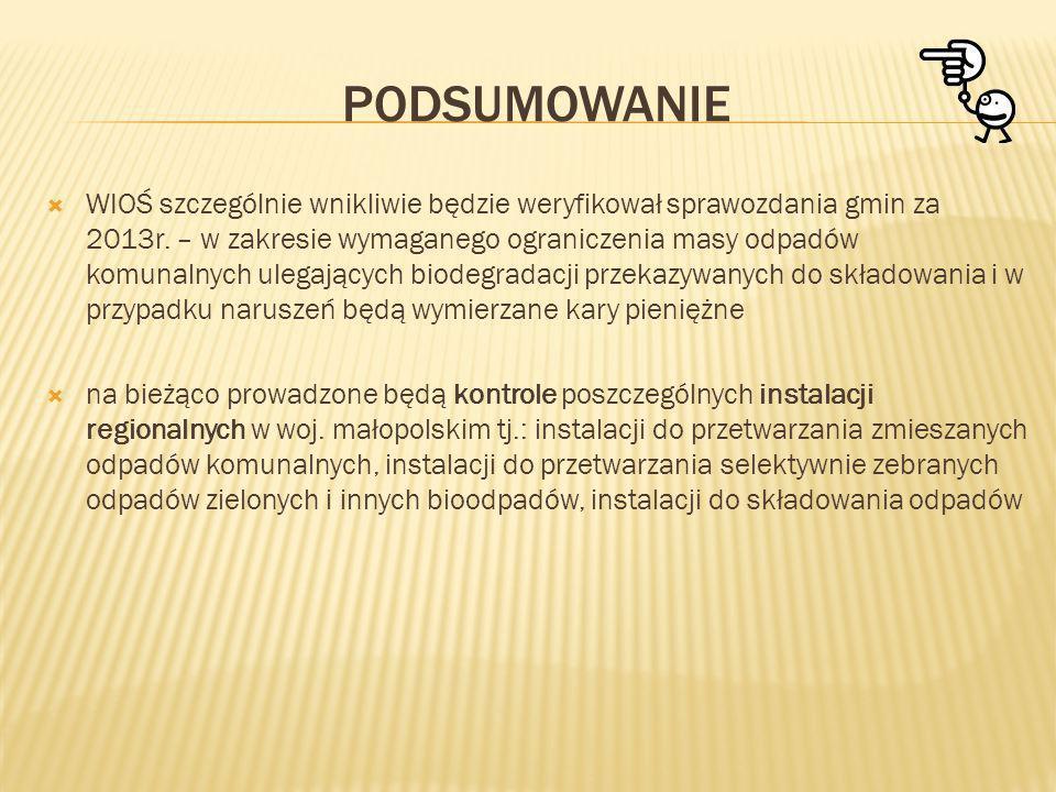 PODSUMOWANIE WIOŚ szczególnie wnikliwie będzie weryfikował sprawozdania gmin za 2013r. – w zakresie wymaganego ograniczenia masy odpadów komunalnych u