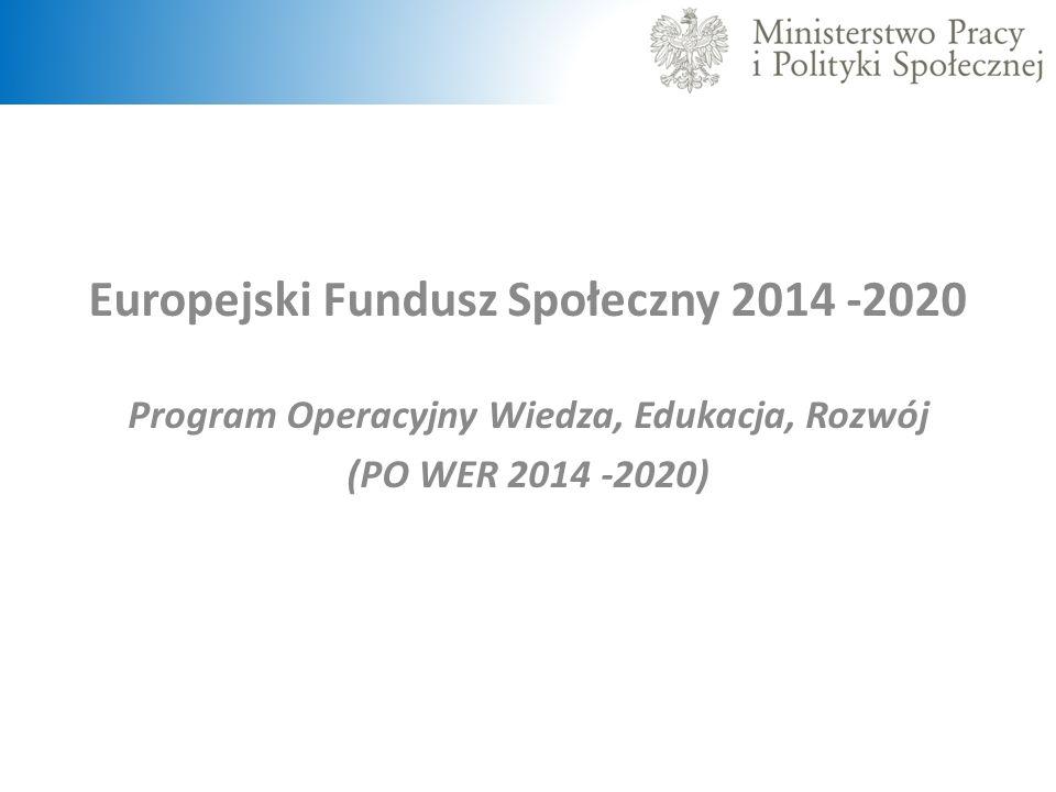 Europejski Fundusz Społeczny 2014 -2020 Program Operacyjny Wiedza, Edukacja, Rozwój (PO WER 2014 -2020)