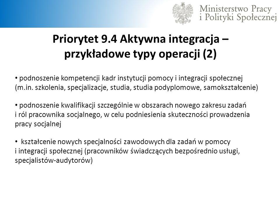 Priorytet 9.4 Aktywna integracja – przykładowe typy operacji (2) podnoszenie kompetencji kadr instytucji pomocy i integracji społecznej (m.in. szkolen