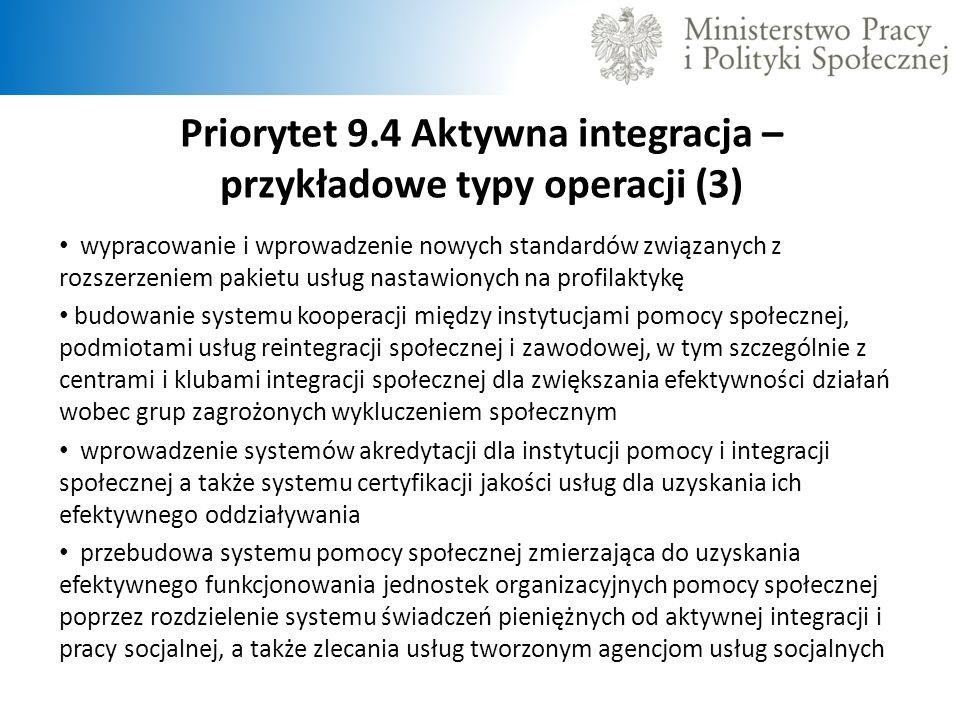 Priorytet 9.4 Aktywna integracja – przykładowe typy operacji (3) wypracowanie i wprowadzenie nowych standardów związanych z rozszerzeniem pakietu usłu