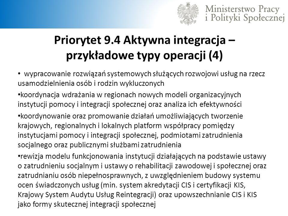 Priorytet 9.4 Aktywna integracja – przykładowe typy operacji (4) wypracowanie rozwiązań systemowych służących rozwojowi usług na rzecz usamodzielnieni