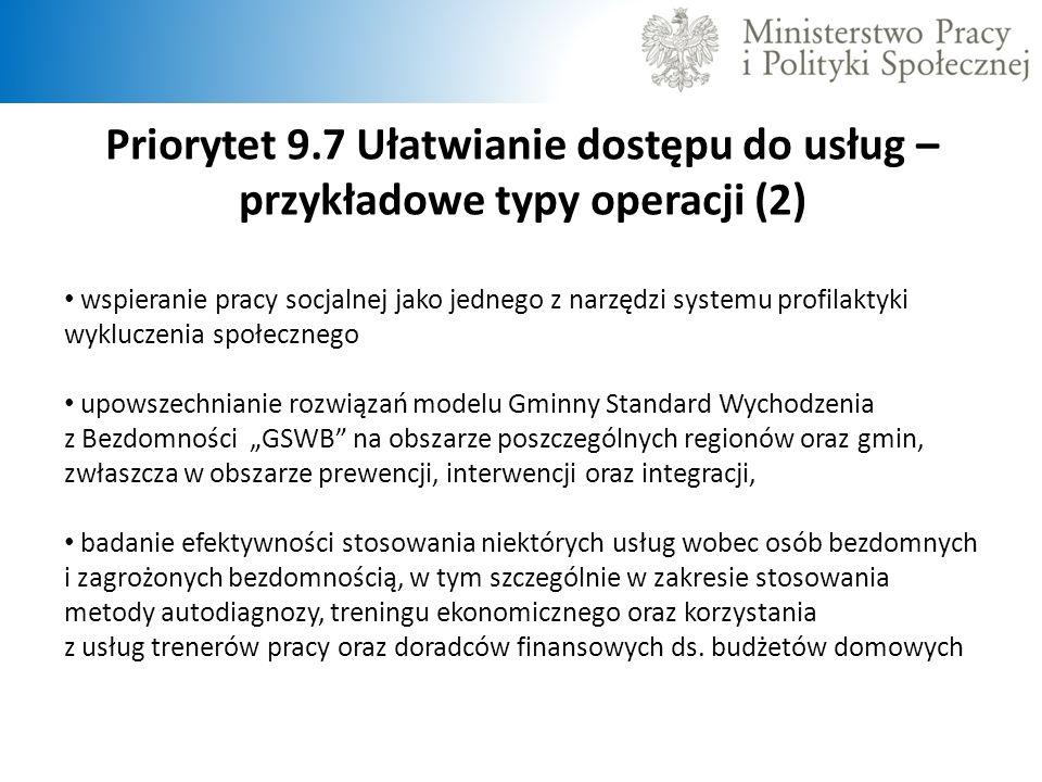 Priorytet 9.7 Ułatwianie dostępu do usług – przykładowe typy operacji (2) wspieranie pracy socjalnej jako jednego z narzędzi systemu profilaktyki wykl