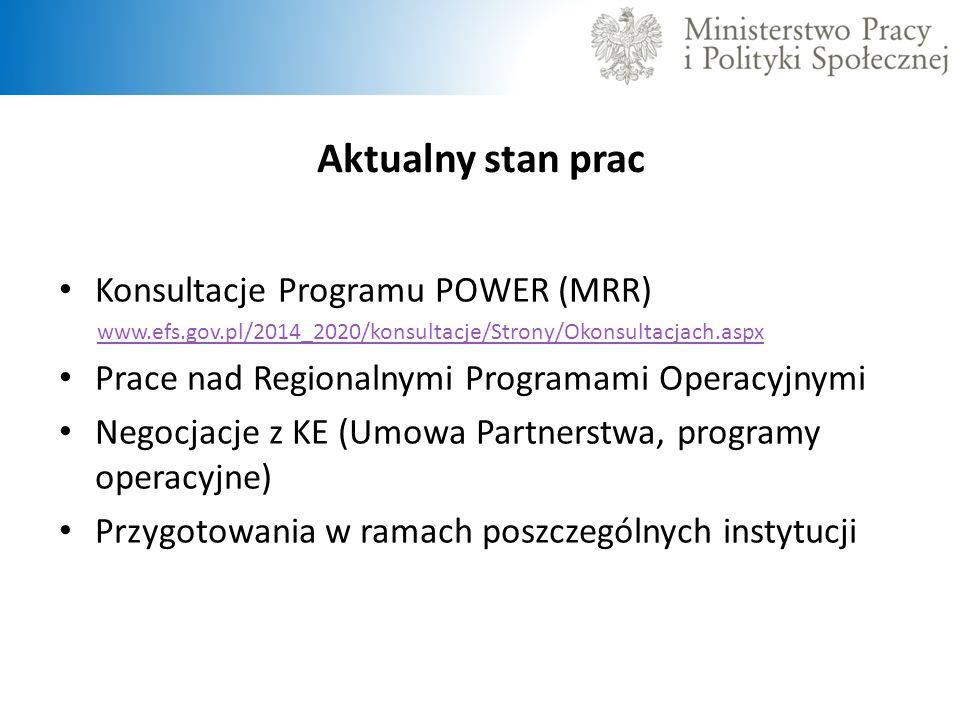 Aktualny stan prac Konsultacje Programu POWER (MRR) www.efs.gov.pl/2014_2020/konsultacje/Strony/Okonsultacjach.aspx Prace nad Regionalnymi Programami