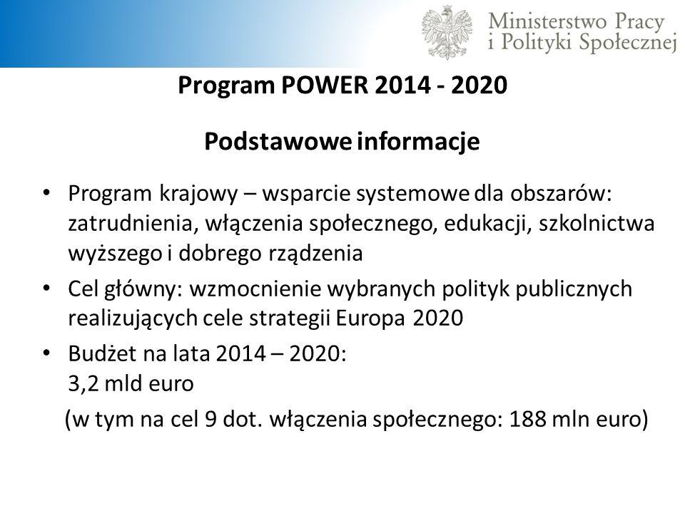 Program POWER 2014 - 2020 Podstawowe informacje Program krajowy – wsparcie systemowe dla obszarów: zatrudnienia, włączenia społecznego, edukacji, szko
