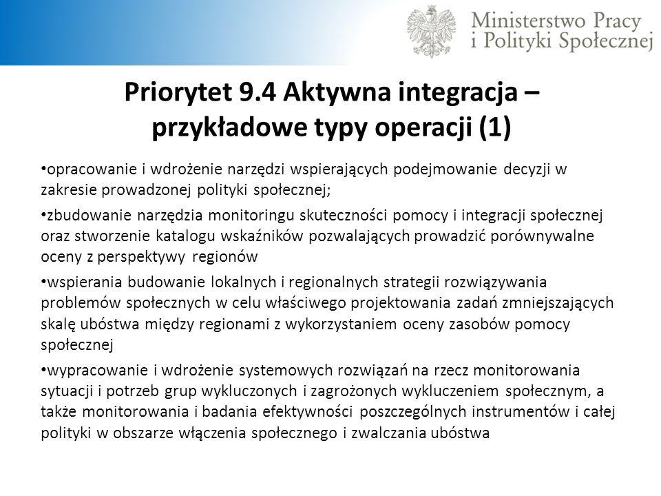 Priorytet 9.4 Aktywna integracja – przykładowe typy operacji (1) opracowanie i wdrożenie narzędzi wspierających podejmowanie decyzji w zakresie prowad