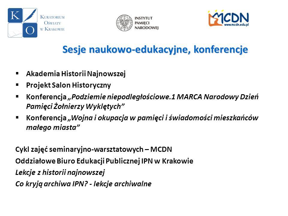Sesje naukowo-edukacyjne, konferencje Akademia Historii Najnowszej Projekt Salon Historyczny Konferencja Podziemie niepodległościowe.1 MARCA Narodowy