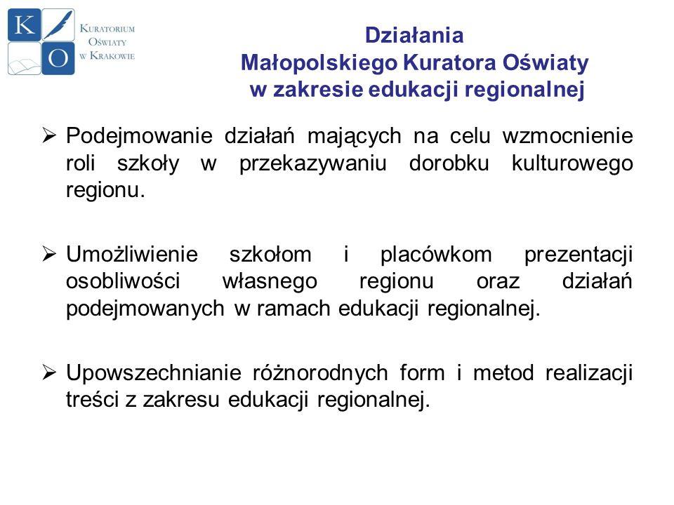Działania Małopolskiego Kuratora Oświaty w zakresie edukacji regionalnej Podejmowanie działań mających na celu wzmocnienie roli szkoły w przekazywaniu