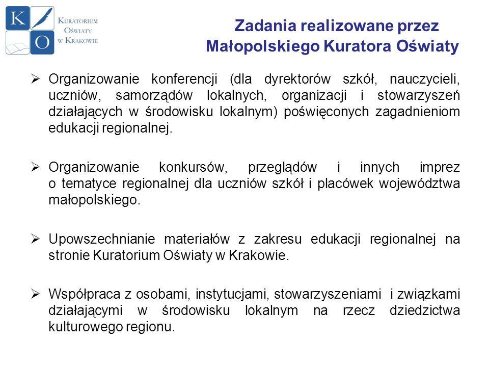 Zadania realizowane przez Małopolskiego Kuratora Oświaty Organizowanie konferencji (dla dyrektorów szkół, nauczycieli, uczniów, samorządów lokalnych,