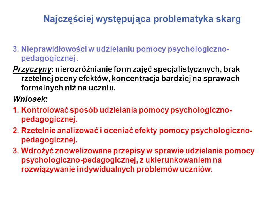 Najczęściej występująca problematyka skarg 3.Nieprawidłowości w udzielaniu pomocy psychologiczno- pedagogicznej. Przyczyny: nierozróżnianie form zajęć