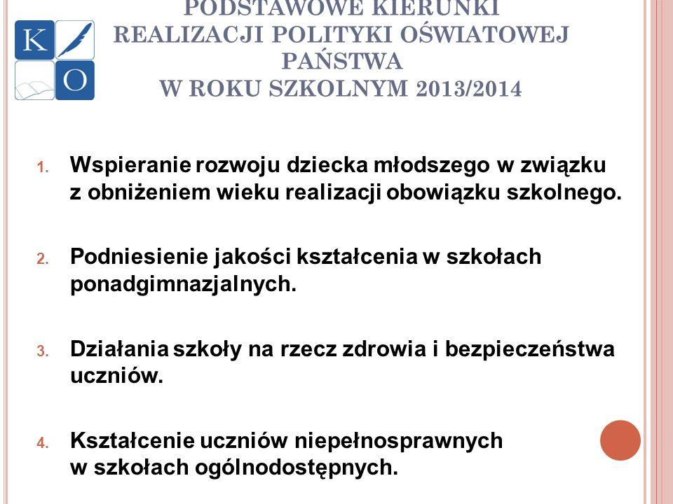 PODSTAWOWE KIERUNKI REALIZACJI POLITYKI OŚWIATOWEJ PAŃSTWA W ROKU SZKOLNYM 2013/2014 1. Wspieranie rozwoju dziecka młodszego w związku z obniżeniem wi