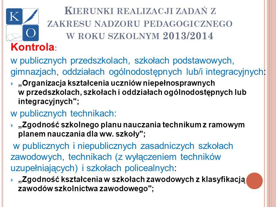 K IERUNKI REALIZACJI ZADAŃ Z ZAKRESU NADZORU PEDAGOGICZNEGO W ROKU SZKOLNYM 2013/2014 Kontrola : w publicznych przedszkolach, szkołach podstawowych, g
