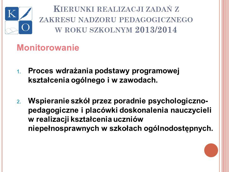 K IERUNKI REALIZACJI ZADAŃ Z ZAKRESU NADZORU PEDAGOGICZNEGO W ROKU SZKOLNYM 2013/2014 Monitorowanie 1. Proces wdrażania podstawy programowej kształcen