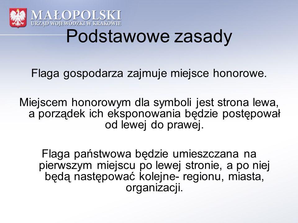 Podstawowe zasady Flaga gospodarza zajmuje miejsce honorowe. Miejscem honorowym dla symboli jest strona lewa, a porządek ich eksponowania będzie postę