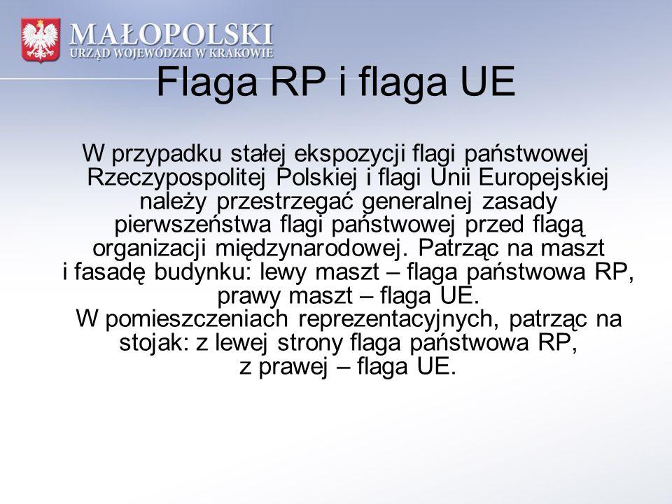Flaga RP i flaga UE W przypadku stałej ekspozycji flagi państwowej Rzeczypospolitej Polskiej i flagi Unii Europejskiej należy przestrzegać generalnej