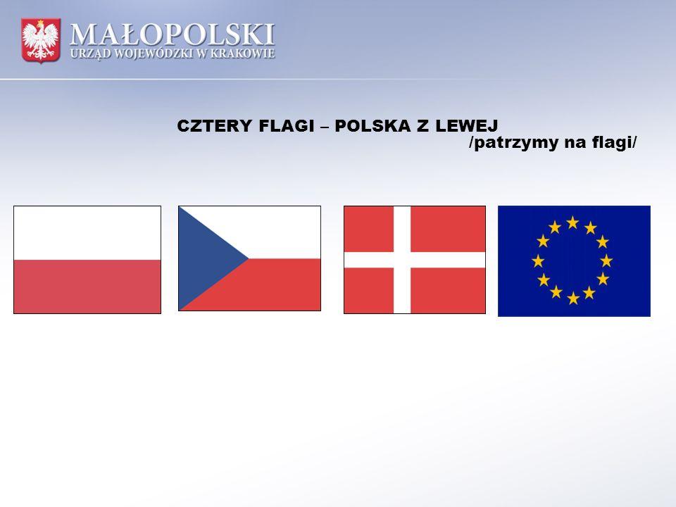 CZTERY FLAGI – POLSKA Z LEWEJ /patrzymy na flagi/