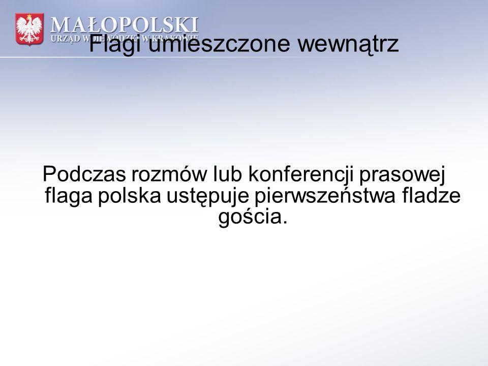 Flagi umieszczone wewnątrz Podczas rozmów lub konferencji prasowej flaga polska ustępuje pierwszeństwa fladze gościa.