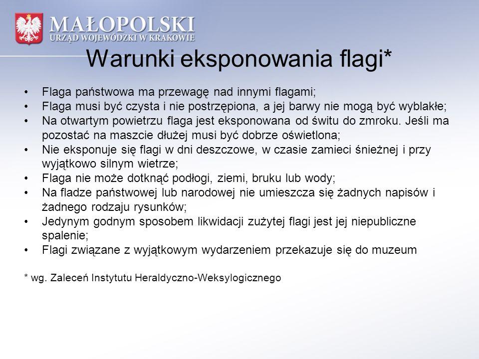 Warunki eksponowania flagi* Flaga państwowa ma przewagę nad innymi flagami; Flaga musi być czysta i nie postrzępiona, a jej barwy nie mogą być wyblakł