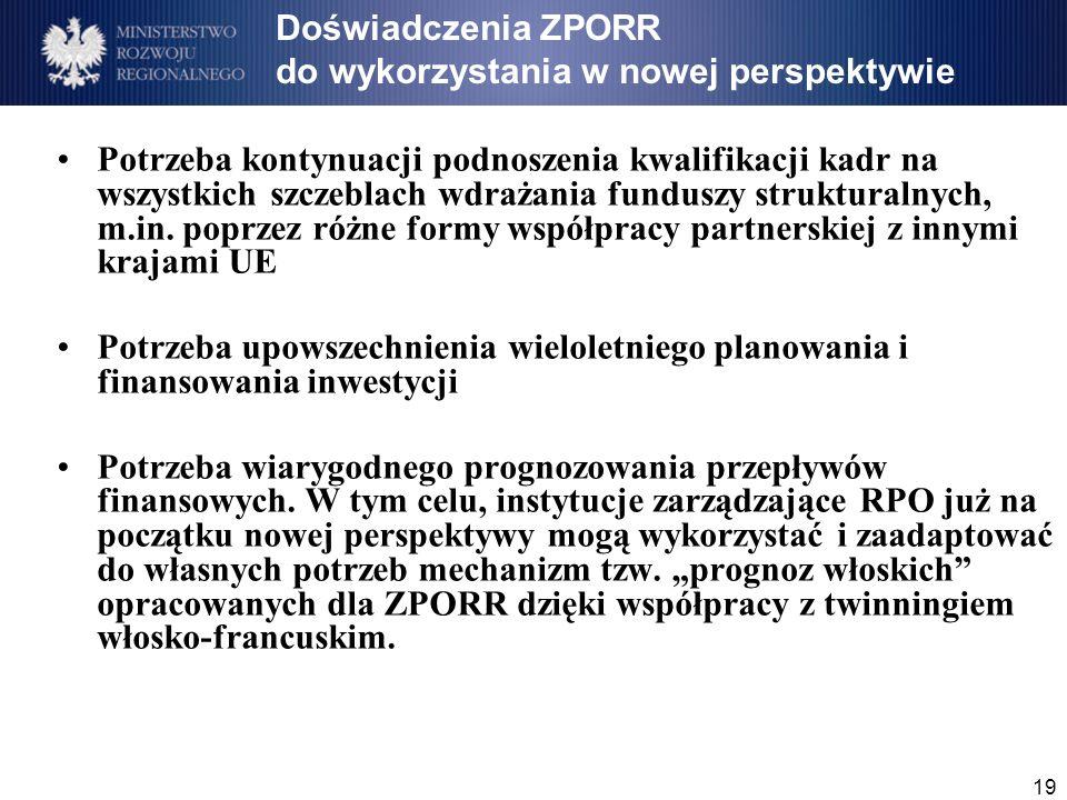19 Doświadczenia ZPORR do wykorzystania w nowej perspektywie Potrzeba kontynuacji podnoszenia kwalifikacji kadr na wszystkich szczeblach wdrażania funduszy strukturalnych, m.in.