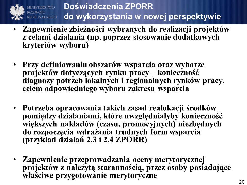 20 Doświadczenia ZPORR do wykorzystania w nowej perspektywie Zapewnienie zbieżności wybranych do realizacji projektów z celami działania (np.