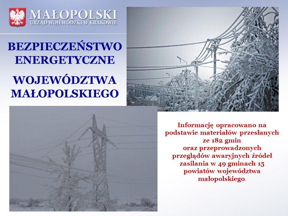 BEZPIECZEŃSTWO ENERGETYCZNE WOJEWÓDZTWA MAŁOPOLSKIEGO Informację opracowano na podstawie materiałów przesłanych ze 182 gmin oraz przeprowadzonych prze