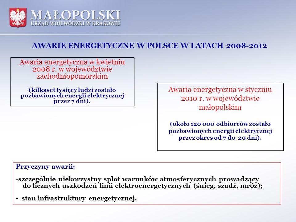 Awaria energetyczna w styczniu 2010 r. w województwie małopolskim (około 120 000 odbiorców zostało pozbawionych energii elektrycznej przez okres od 7