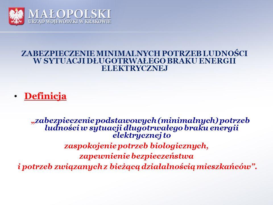 ZABEZPIECZENIE MINIMALNYCH POTRZEB LUDNOŚCI W SYTUACJI DŁUGOTRWAŁEGO BRAKU ENERGII ELEKTRYCZNEJ Definicja zabezpieczenie podstawowych (minimalnych) po