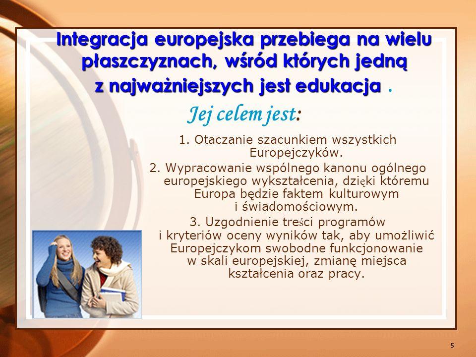 6 Cele barcelońskie (2002) Osiągnąć w Europie najwyższy poziom edukacji, aby mogła stanowić wzór dla całego świata, Zapewnić kompatybilność systemów edukacyjnych, umożliwiającą swobodny wybór miejsc kształcenia i pracy, Uznawać w UE kwalifikacje zawodowe, wiedzę i umiejętności zdobyte w innych krajach, Zapewnić Europejczykom kształcenie ustawiczne, Otworzyć Europę na cały świat 2010 r.