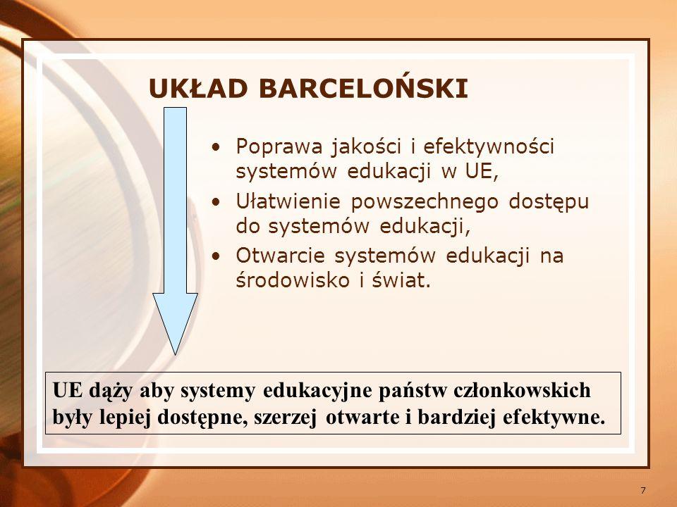 8 WSPÓLNE EUROPEJSKIE CELE EDUKACYJNE – STRATEGIA LIZBOŃSKA UE EDUKACJA LEPSZEJ JAKOŚCI EDUKACJA LEPIEJ DOSTĘPNA EDUKACJA BARDZIEJ OTWARTA