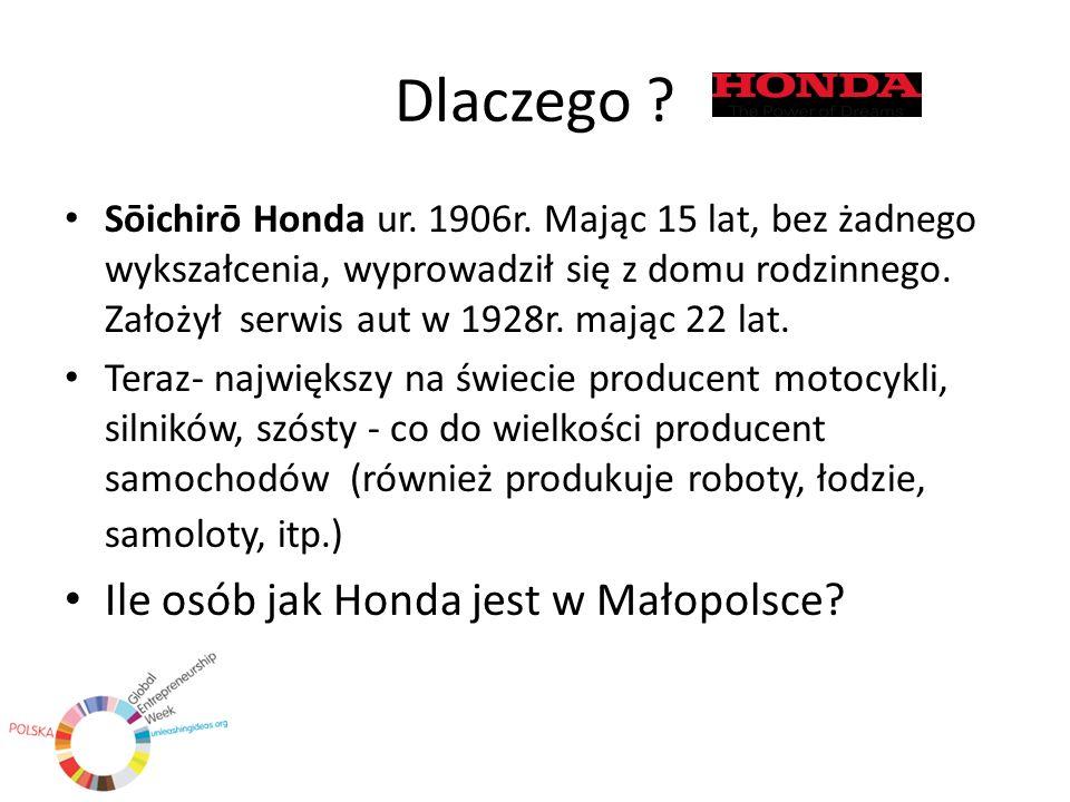 Dlaczego ? Sōichirō Honda ur. 1906r. Mając 15 lat, bez żadnego wykszałcenia, wyprowadził się z domu rodzinnego. Założył serwis aut w 1928r. mając 22 l