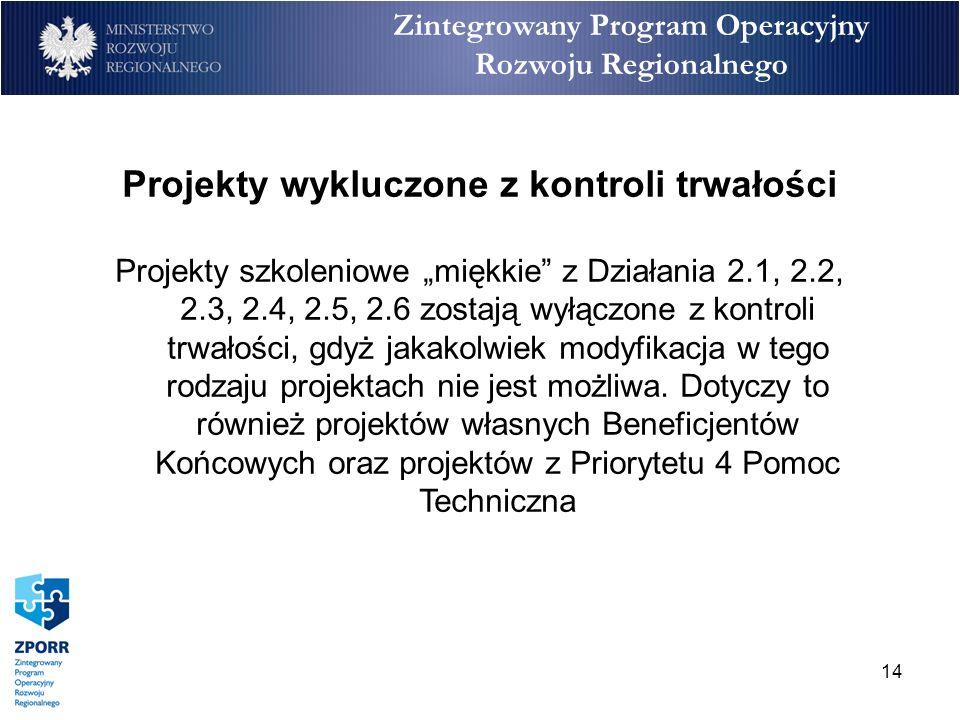 14 Zintegrowany Program Operacyjny Rozwoju Regionalnego Projekty wykluczone z kontroli trwałości Projekty szkoleniowe miękkie z Działania 2.1, 2.2, 2.