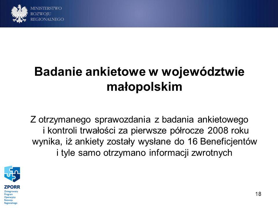 18 Badanie ankietowe w województwie małopolskim Z otrzymanego sprawozdania z badania ankietowego i kontroli trwałości za pierwsze półrocze 2008 roku w