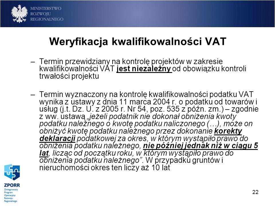 22 Weryfikacja kwalifikowalności VAT –Termin przewidziany na kontrolę projektów w zakresie kwalifikowalności VAT jest niezależny od obowiązku kontroli
