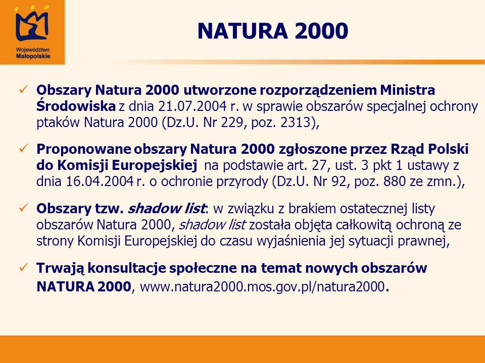 NATURA 2000 Obszary Natura 2000 utworzone rozporządzeniem Ministra Środowiska z dnia 21.07.2004 r. w sprawie obszarów specjalnej ochrony ptaków Natura