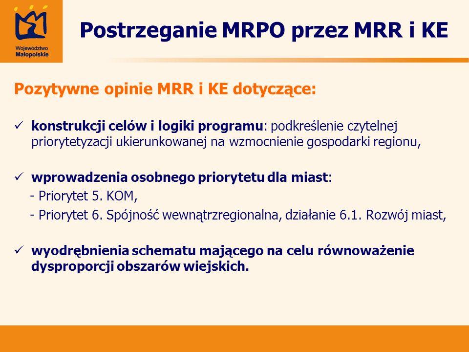 Postrzeganie MRPO przez MRR i KE Pozytywne opinie MRR i KE dotyczące: konstrukcji celów i logiki programu: podkreślenie czytelnej priorytetyzacji ukie