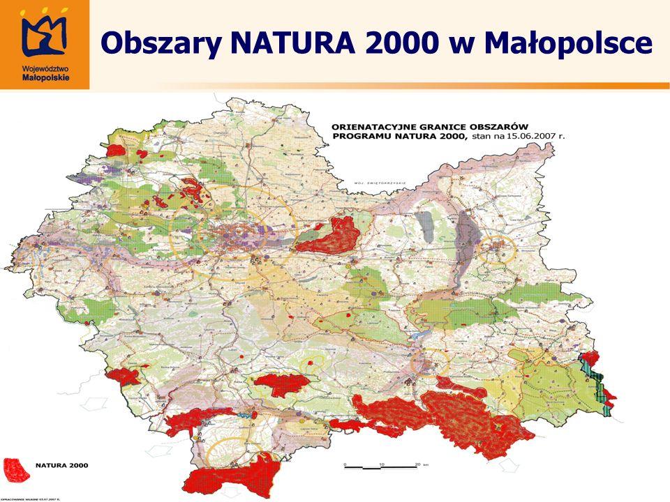 Obszary NATURA 2000 w Małopolsce Mapka do wklejenia