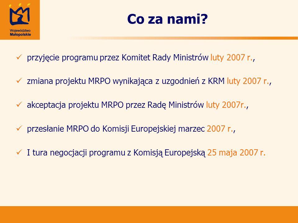 Co za nami? przyjęcie programu przez Komitet Rady Ministrów luty 2007 r., zmiana projektu MRPO wynikająca z uzgodnień z KRM luty 2007 r., akceptacja p